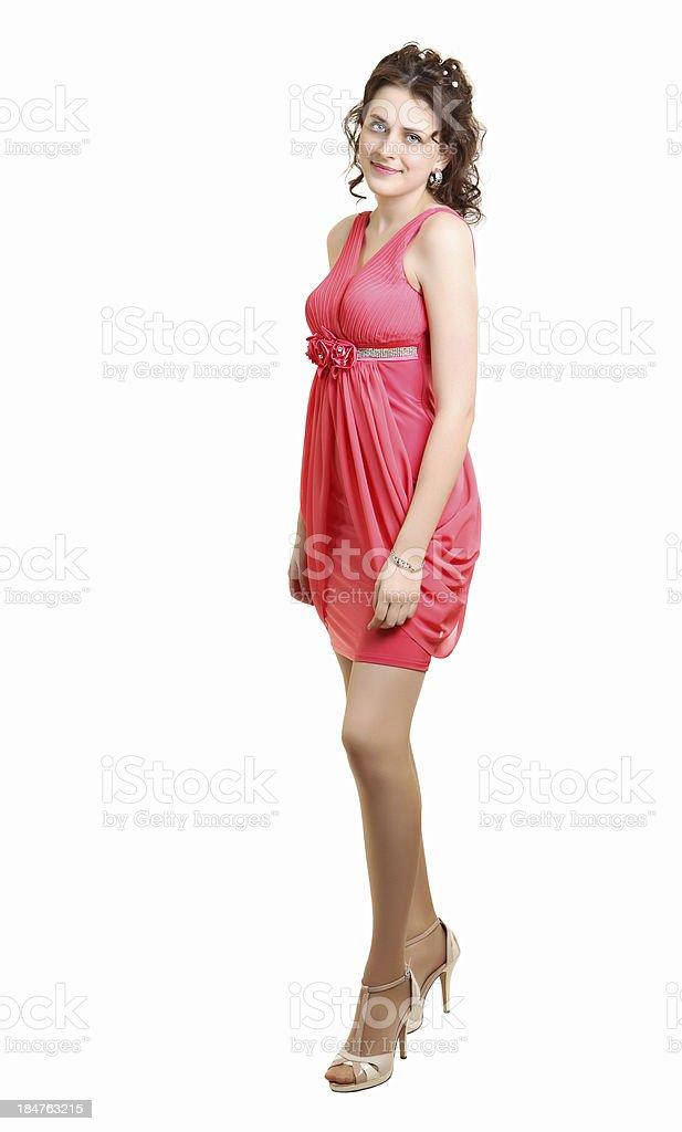 5f8278ac0caf Scolara alta scuola ragazza indossa abito da sera per prom corallo foto  stock royalty-free