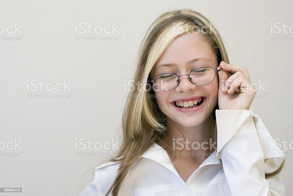 schoolgirl in glasses royaltyfri bildbanksbilder