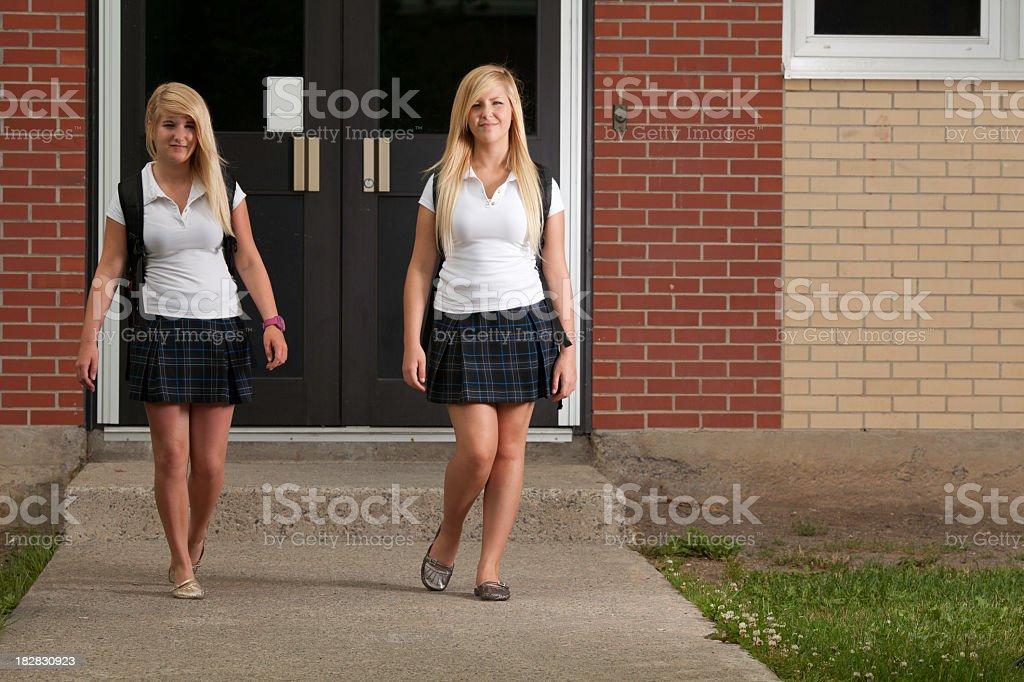 Schoolgirl Leave Class stock photo