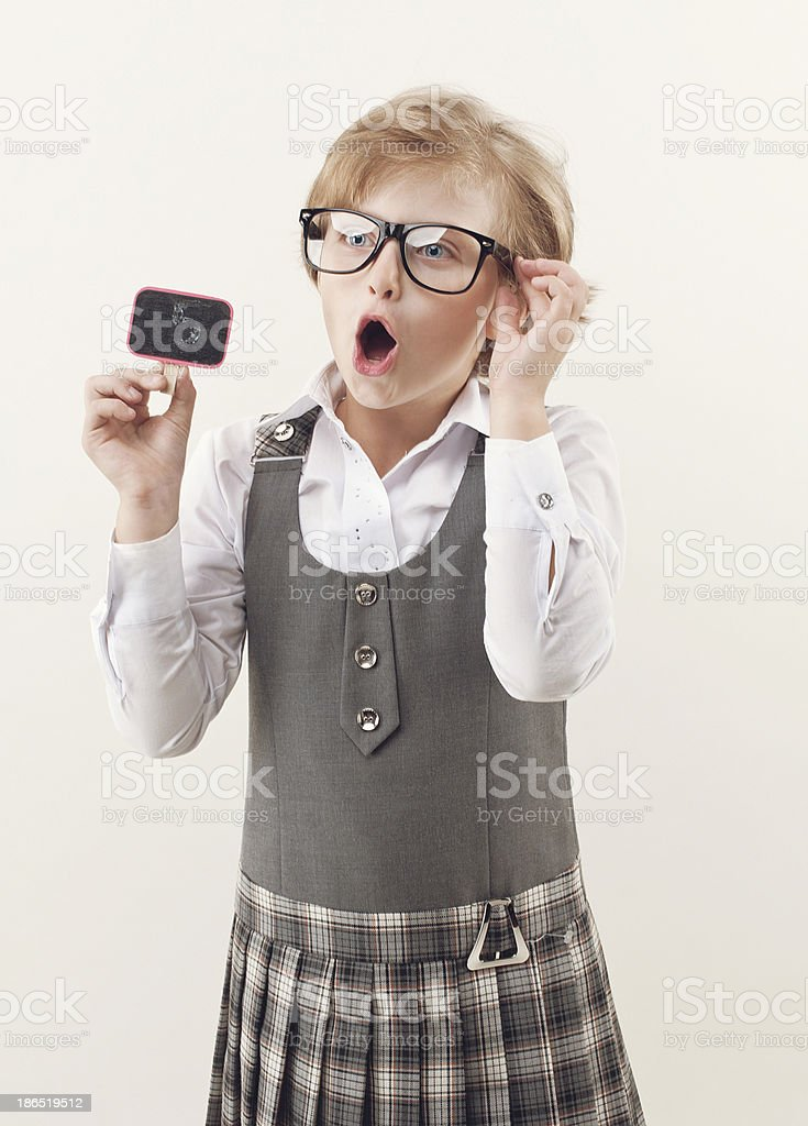 schoolgirl on white background royalty-free stock photo