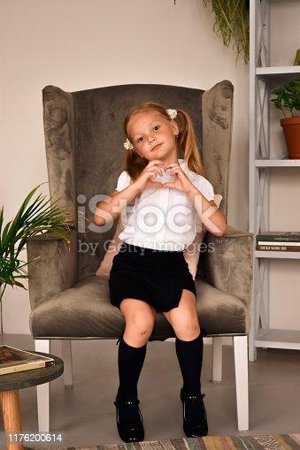 School girl in schoo uniform