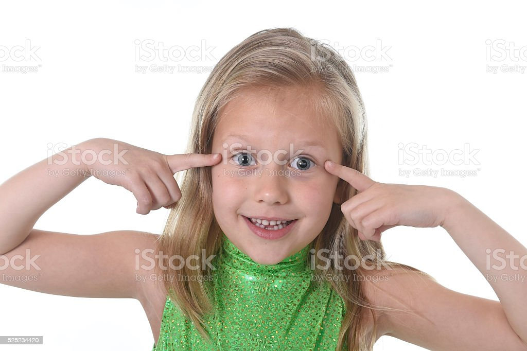 schoolgirl pointing her eyes in body parts learning school chart stock photo