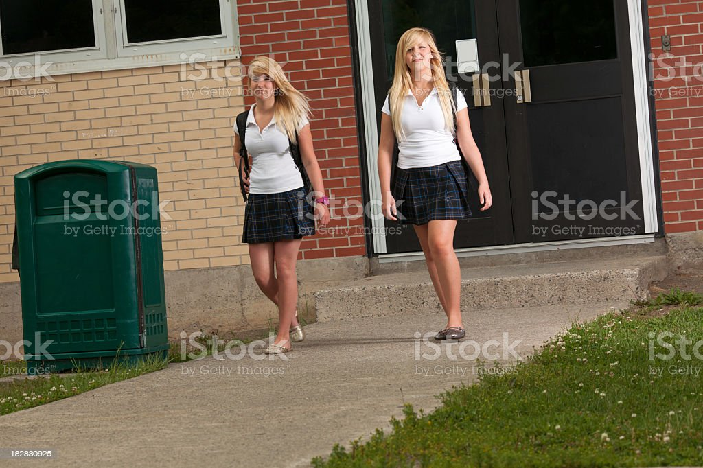 Schoolgirl Schoolyard stock photo
