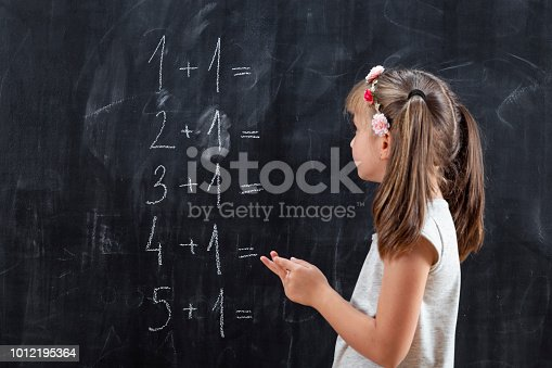 istock Schoolgirl solving math problems 1012195364