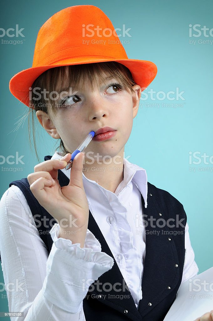 schoolgirl thinking royalty-free stock photo