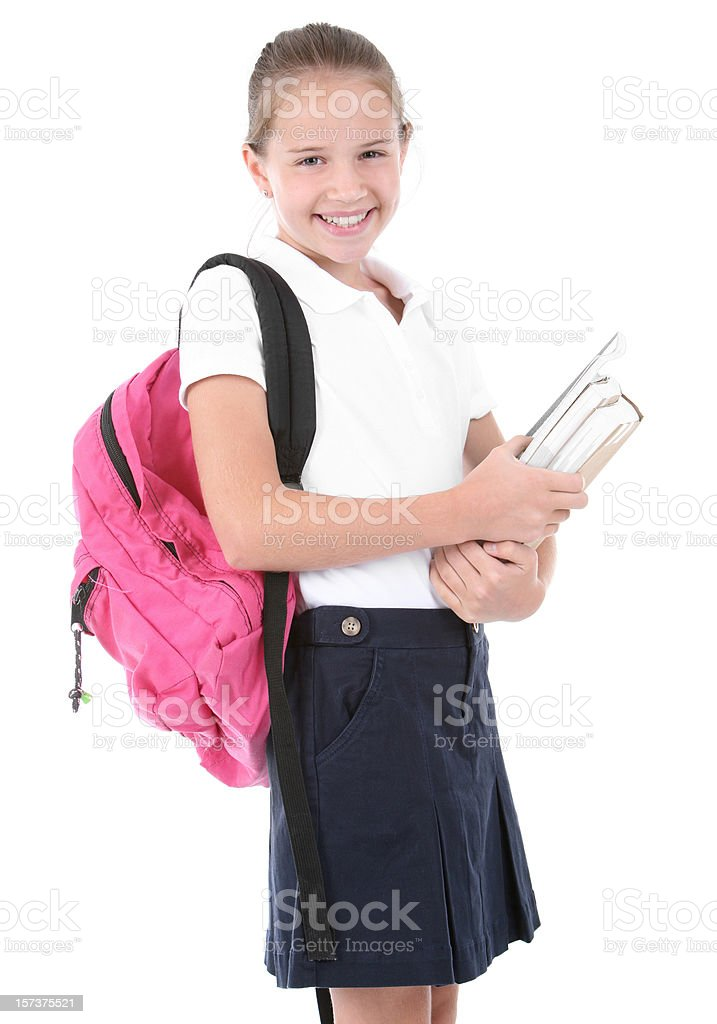 Schoolgirl with books royalty-free stock photo