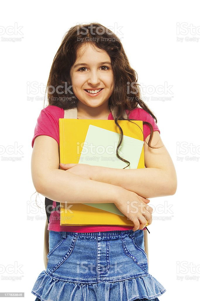 Schoolgirl with books royalty-free stock photo
