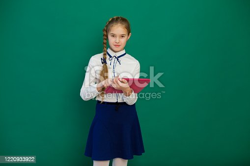 istock schoolgirl with internet tablet in class at green board 1220933922
