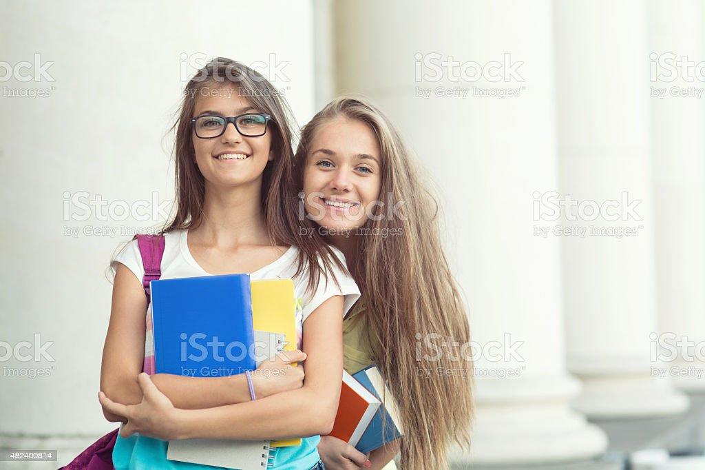 Schoolgirls stock photo