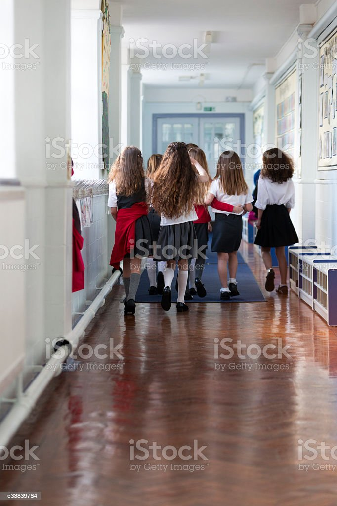 Schoolgirls Walking to Class stock photo