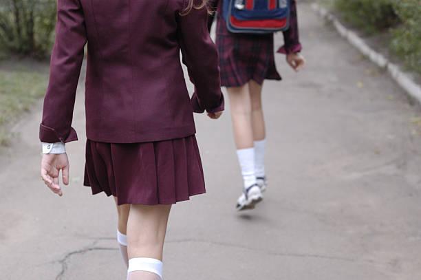 schoolgirls2 - skirt stock photos and pictures
