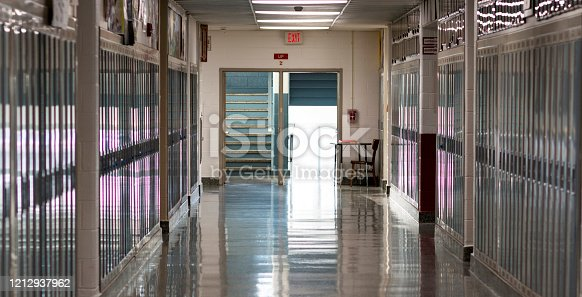 A high schools empty hallway because school is closed due to the caronavirus in March 2020.
