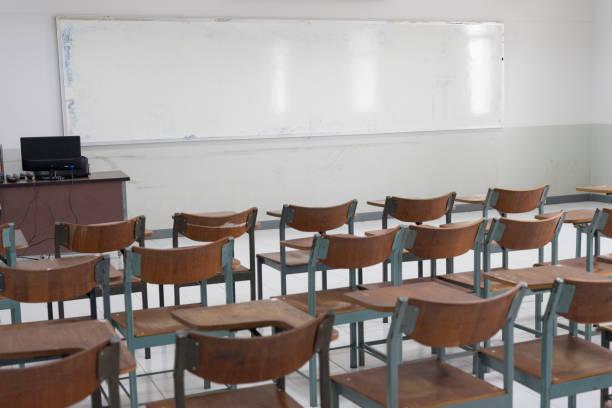 Schools in Asian shutdown due to Coronona Virus or COVID-19 spreading. An empty classroom with no student. stock photo