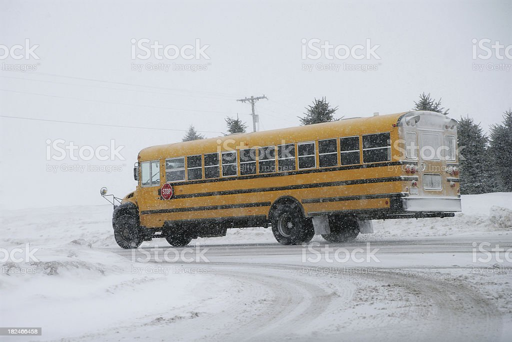 School's Out Early!  Buses in Snow royalty-free stock photo