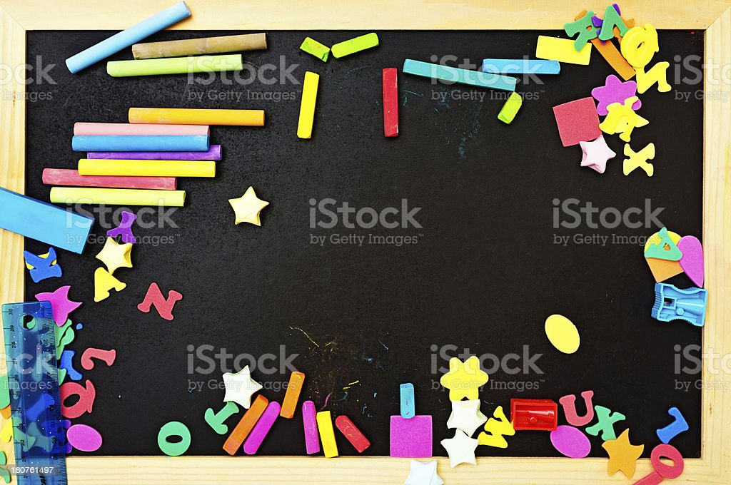A typical school blackboard is covered with art and stationery...