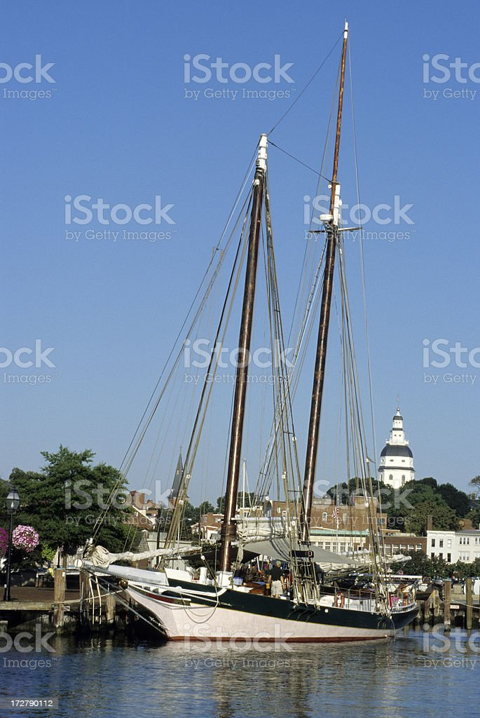 Schooner and Maryland's Statehouse royalty-free stock photo