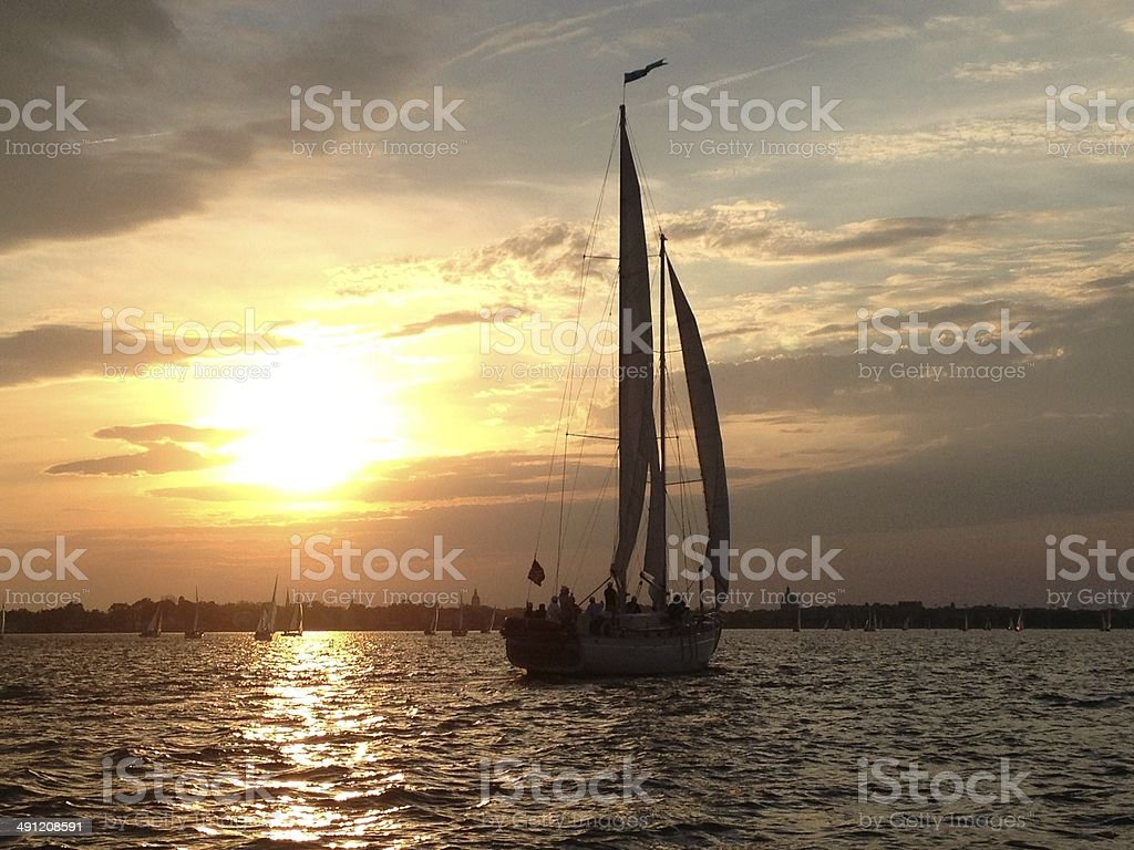 Schooner at Sunset View stock photo
