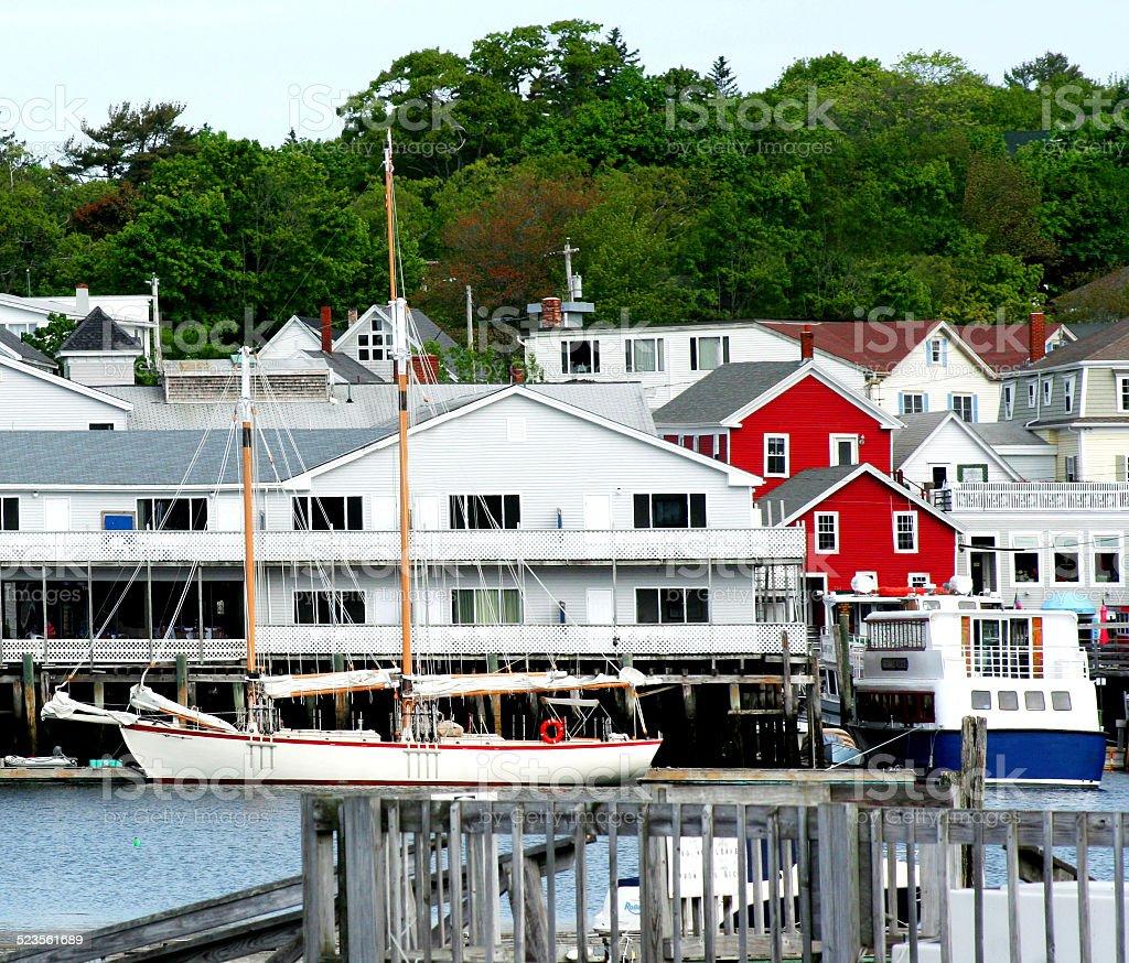 Schooner Docked in Harbor stock photo