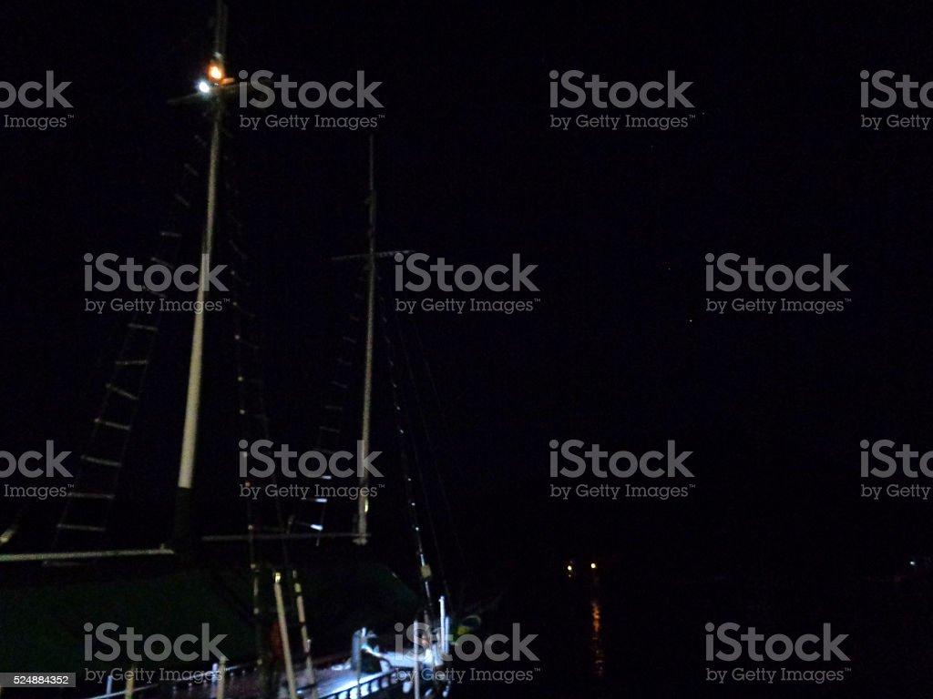 Schooner in the Night, Paraty, Brazil stock photo