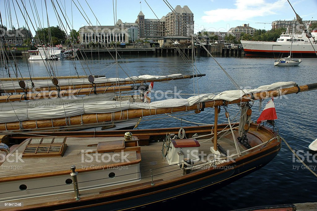Schooner masts and sails royalty-free stock photo