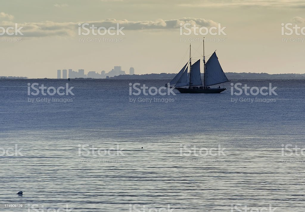 Schooner sailin in Boston north shore stock photo