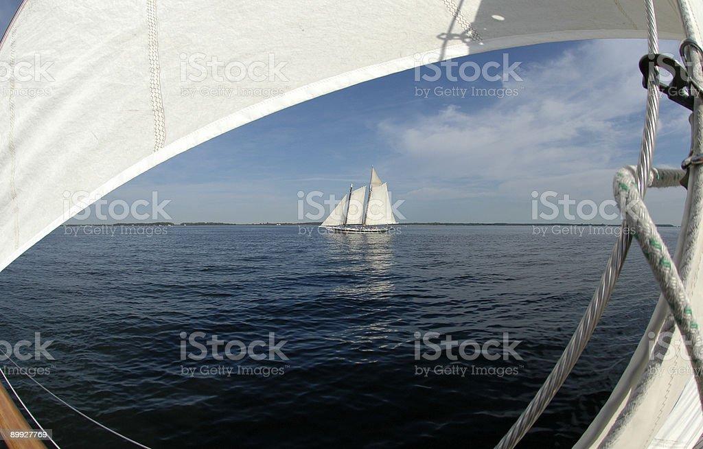 Schooner Through Sails Seascape royalty-free stock photo
