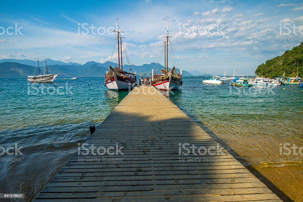 Schooners at the port of Angra dos Reis stock photo