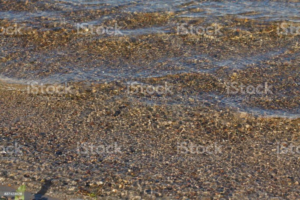 Schäumendes Wasser mit Gräsern an einem Seeufer stock photo
