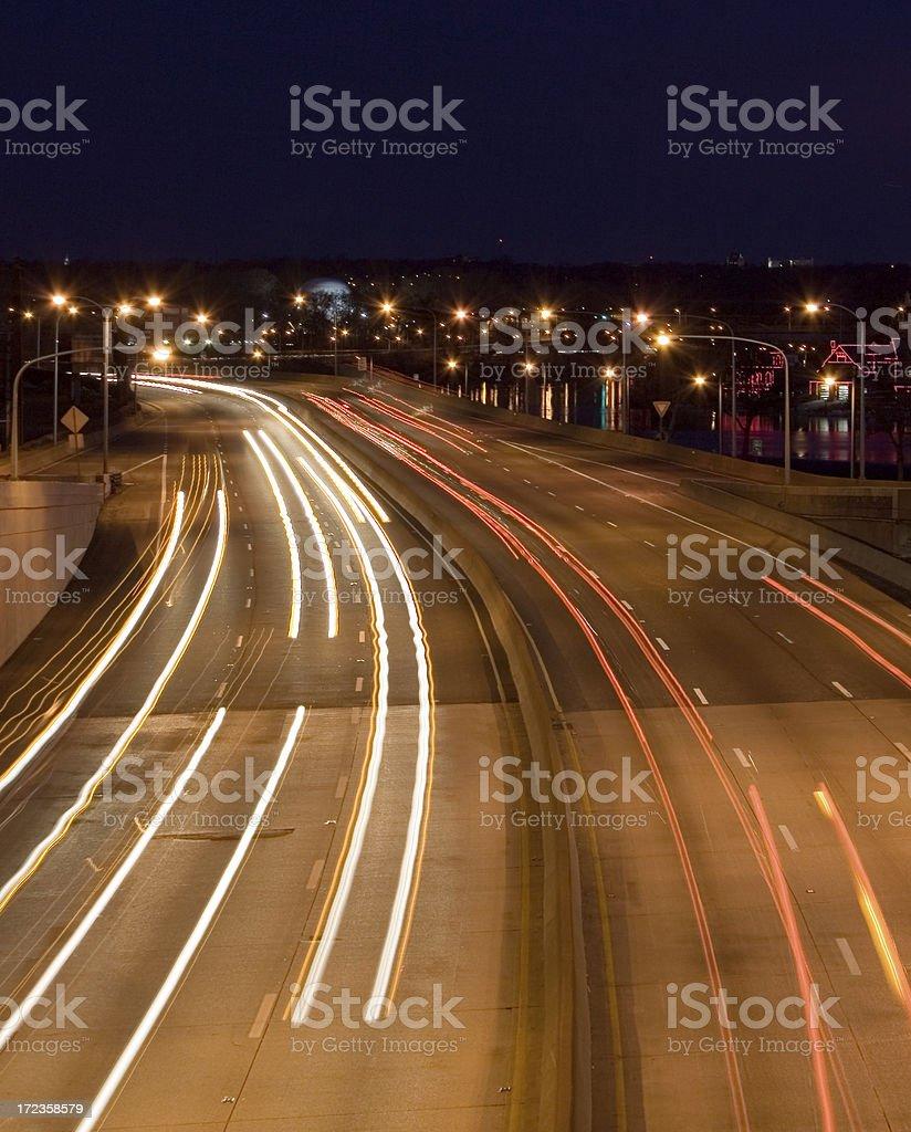 Autopista Schuylkill expressway por la noche foto de stock libre de derechos