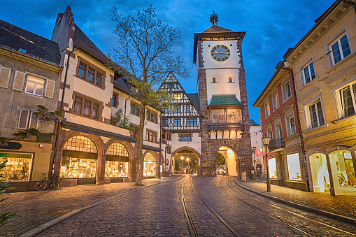 Schwabentor - historical city gate in Freiburg, Germany