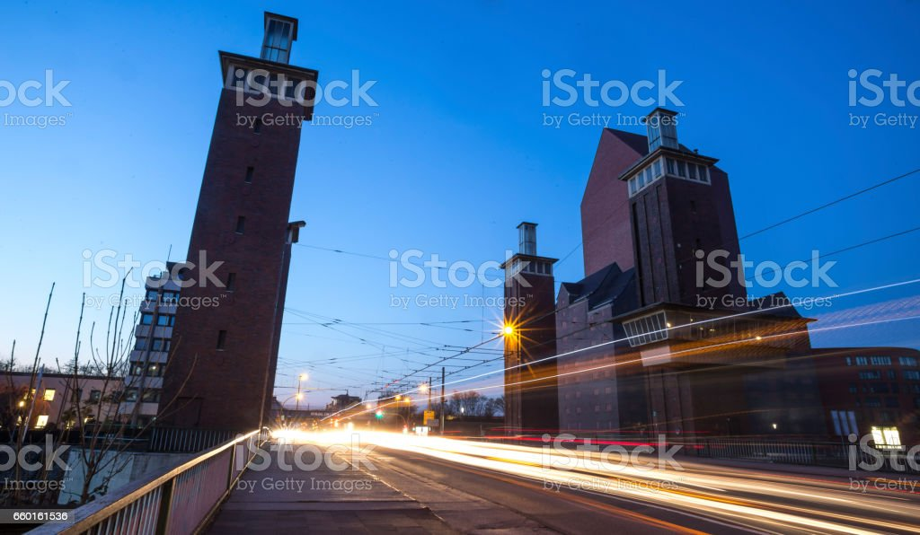 schwanentor bridge duisburg in the evening stock photo