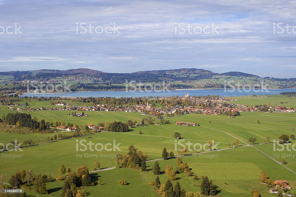 Schwangau and the Illasbergsee stock photo