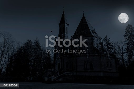 Schwarzenberg tomb in full moon night, Trebon. Czech republic.