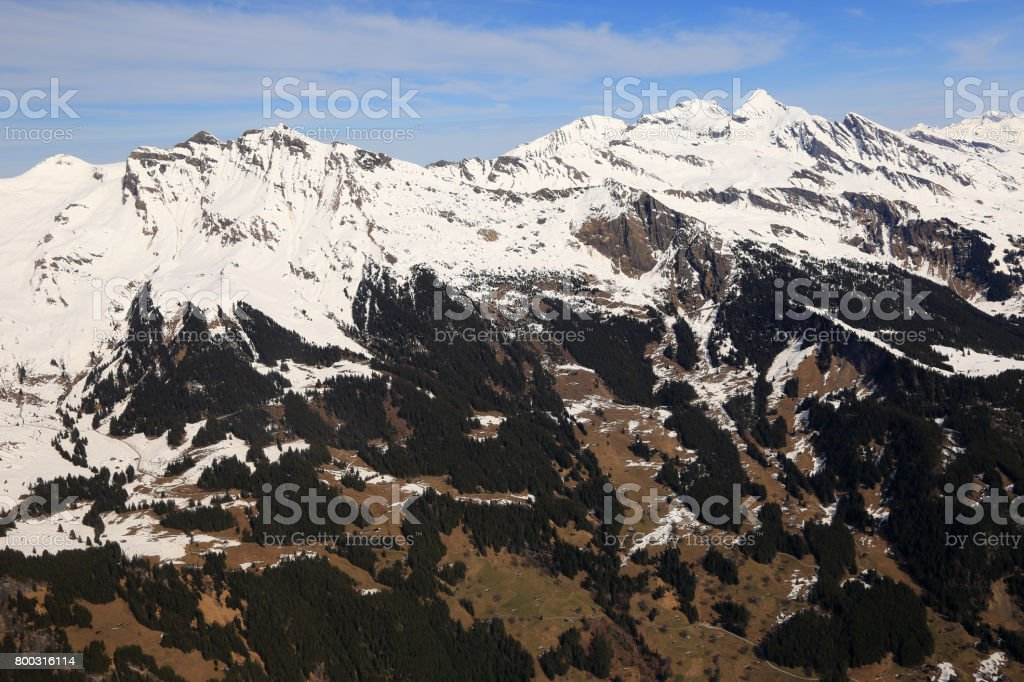 Schwarzhorn Reeti Faulhorn Swiss Alps mountains Switzerland aerial view photography stock photo