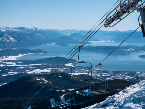 Schweitzer Ski Resort Chairlifts Mountain Lake Pend Orielle View Idaho stock photo