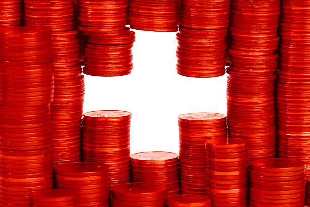 schweizer flagge - franken stockfoto's en -beelden