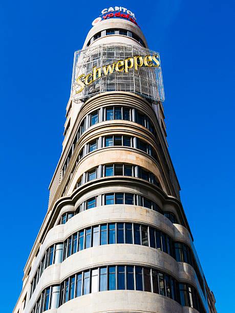 Schweppes Tower in Gran Via, Madrid, Spain stock photo