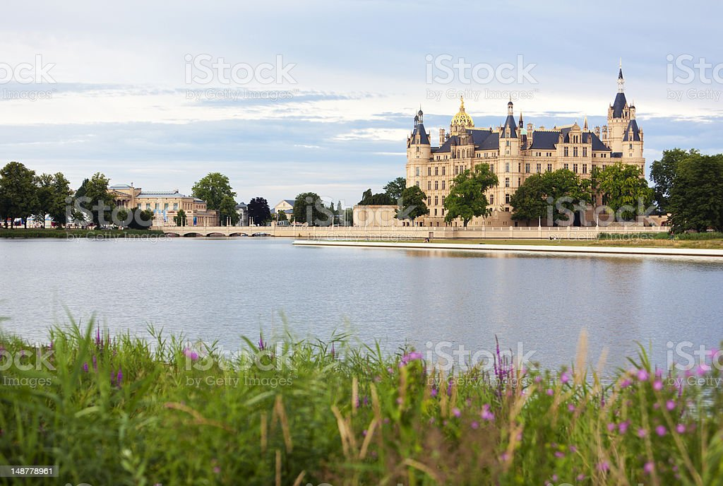 Schwerin Castle and lake stock photo