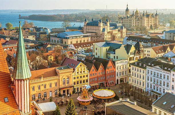 Schwerin landmarks and christmas market stock photo