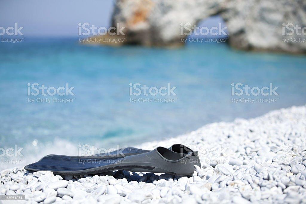 Schwimmflossen am Traumstrand royalty-free stock photo