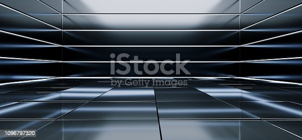 909529832istockphoto Sci Fi Alien Hall Room Reflective Materials Tiled Floor Striped Led Laser Blue Glowing Lights Empty Space Stage Showroom Dark Vibrant 3D Rendering 1096797320