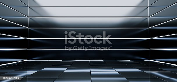 909529832 istock photo Sci Fi Alien Hall Room Reflective Materials Tiled Floor Striped Led Laser Blue Glowing Lights Empty Space Stage Showroom Dark Vibrant 3D Rendering 1096797366
