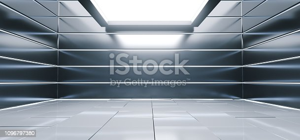 909529832 istock photo Sci Fi Alien Hall Room Reflective Materials Tiled Floor Striped Led Laser Blue Glowing Lights Empty Space Stage Showroom Bright Vibrant 3D Rendering 1096797380