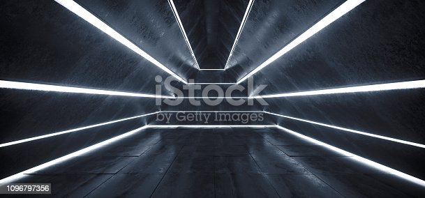 909529832 istock photo Sci FI Alien Ship Light Stripped Led Laser White Glowing Lights In Triangle Shaped Grunge Concrete Empty Dark Tunnel Corridor Spaceship Reflections 3D Rendering 1096797356