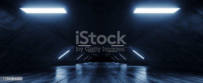 967676748 istock photo Sci Fi Futuristic Alien Spaceship  Dark Empty Grunge Concrete Reflective Tiled Floor And White Blue Glowing Led Lights Studio Hall Corridor Tunnel 3D Rendering 1134084303