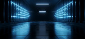 istock Sci Fi Futuristic Blue Cyber Modern Neon Led Arrow Shaped Lights Catwalk Tunnel Garage Corridor Warehouse Underground Grunge Concrete Cement 3D Rendering 1292139090