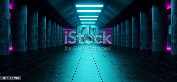 967676748 istock photo Sci Fi Futuristic Dark Alienship Modern Reflective Corridor Empty Tunnel With Concrete Tiled Floor And Concrete Big Columns And Blue Lights Technology Background Concept 3D Rendering 1071177868