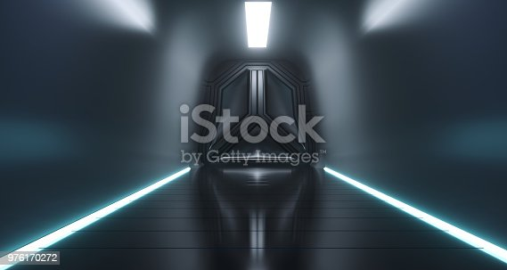 967676748istockphoto Sci Fi Futuristic Ship Tunnel With Door And Surface Reflections.3D Rendering 976170272