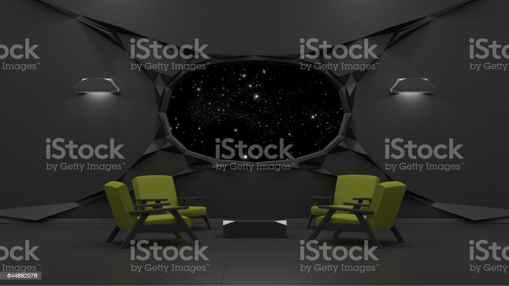 sci fi interior 3D rendering stock photo