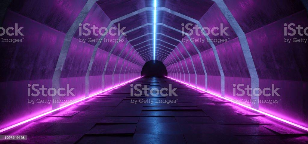 Sci Fi Modern Futuristic Oval Shaped Dark Alien Neon Glowing Purple Blue Lines Lasers Dance Light Tunnel Corridor On Grunge Concrete 3D Rendering stock photo